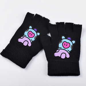 New kpop k-pop BTS BT21 Bangtan Boys Winter Gloves Cartoon CHIMMY COOKY TATA SHOOKY Printed Warm Half-finger Gloves-geekbuyig
