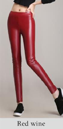 New Women's Plus Velvet PU Leather Pants Large Size Colour Leather Pants High Waist Tight Leather Pants Female Trousers-geekbuyig