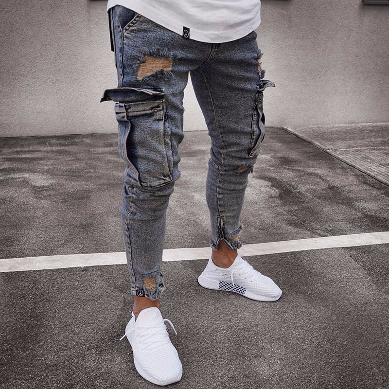 Mens Jeans Denim Pocket Pants Summer Autumn Ankle-Length Slim Softener Regular Fit Straight Jeans Elasticity Stretchy Male-geekbuyig