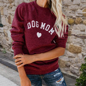 Drop Shipping DOG MOM Funny Letter Print Sweatshirt For Women Full Sleeve Casual Tops Female Autumn Clothes Feminina Sweatshirts-geekbuyig
