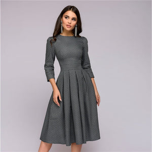 Womens Dresses New Arrival 2018 Fall Casual Printing Party Dress Ladies Autumn Summer Vintage Christmas Dresses Plus Size-geekbuyig