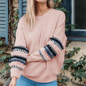 Tassel Long Sleeve Sweatshirt Women 2018 Autumn Winter Pullover Pink Hoodie Sweatshirt Female Loose Casual Tops Tracksuit-geekbuyig