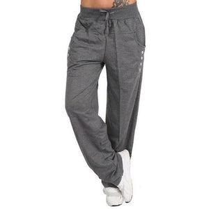 Oversized Women Pants Casual Fashion Autumn Sports Pants Button Drawsting Pockets Full Plus Sized Trouser Female New Grey Pants-geekbuyig