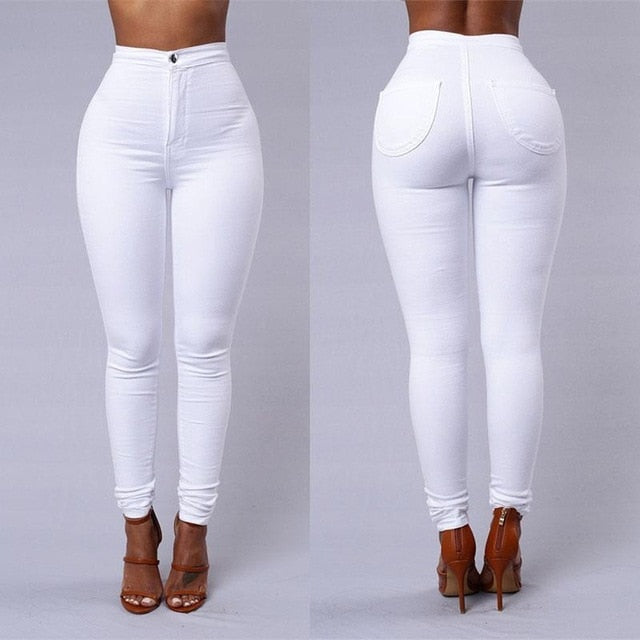 2018 Solid Wash Skinny Jeans Woman High Waist NEW Denim Pants Plus Size Push Up Bodycon warm Pencil Pants Female **-geekbuyig
