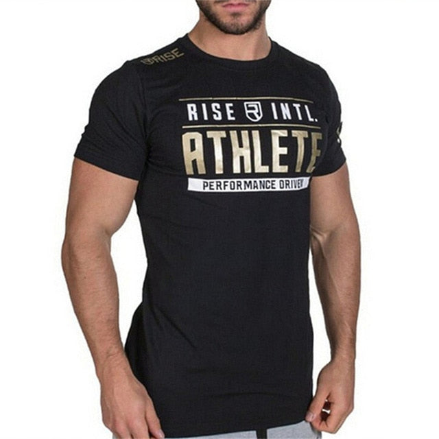 Mens Short sleeve Cotton T-shirt Man Slim Print t shirts Male Joggers Gyms Fitness Bodybuilding Workout Crossfit Brand Tees Tops-geekbuyig