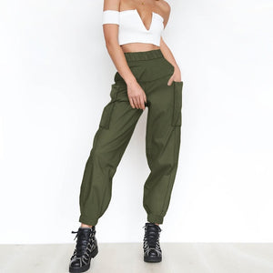 women long cargo pants casual female high waist harem streetwear ladies spring autumn solid black white camouflage trousers xxl-geekbuyig