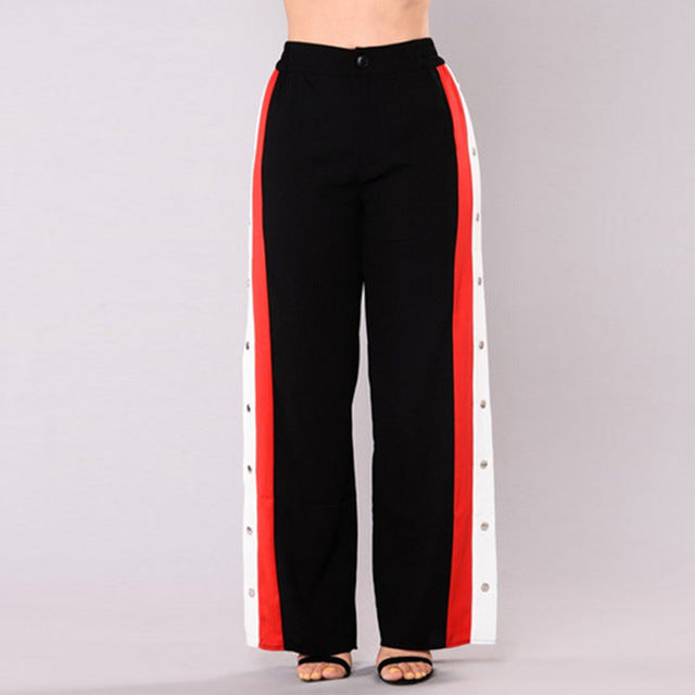 Stripe Patchwork Red-White-Black Rivet Side Slit Elastic Waist Casual Long Pants 2018 Summer Women Wide Leg Button Track Pants-geekbuyig