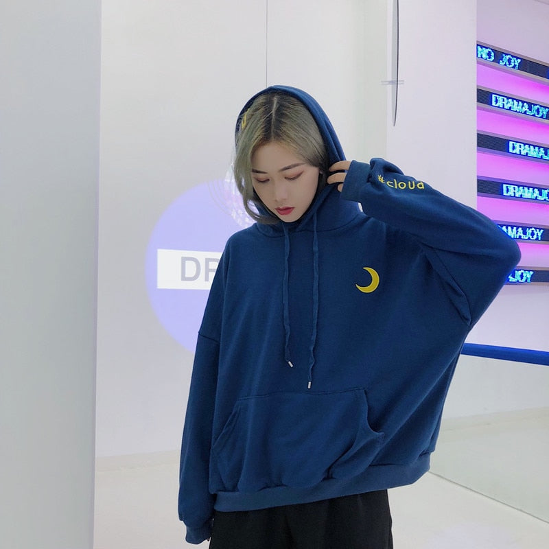 Women's Hoody Vintage Thick Ulzzang College Style Loose Embroidery Hoodies Casual Female Vintage Kawaii Cute Jumper For Women-geekbuyig