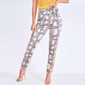 Vintage Chic Snakeskin Print Ankle Pants Women 2018 Fashion Clothing Elastic Waist Side Yellow Stripes Trousers Casual Pantalon-geekbuyig