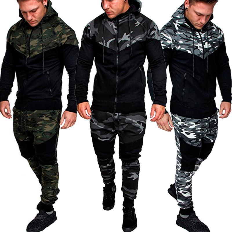 Men Fashion Long Sleeve Camouflage Hoodies+Pants Set Male Tracksuit Outdoors Sport Suit Men's Gyms Set Casual Sportswear Suit-geekbuyig