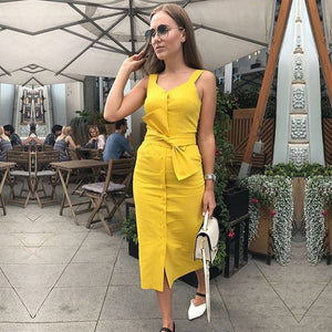 Autumn Summer Dress 2018 New Fashion Sleeveless Streetwear Casual Slim Dress Knee Length Red Yellow Black Dress Vestidos-geekbuyig