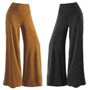Women's Casual Point Stretchy Wide Leg Palazzo Lounge Pants Loose Mid Waist Women's plus size Harajuku Wide leg pants #73025-geekbuyig