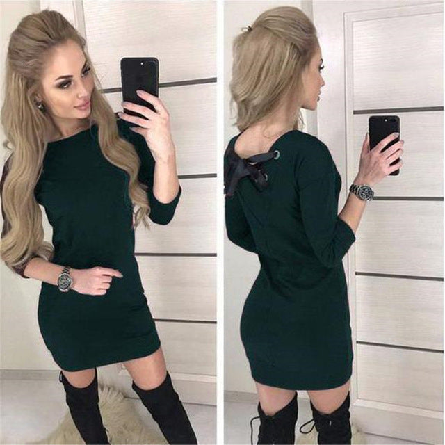 Fall 2018 Women Casual Three Quarter Sleeve Dress Vintage Christmas Party Dresses Autumn Sexy Black Red Backless Mini Dress-geekbuyig