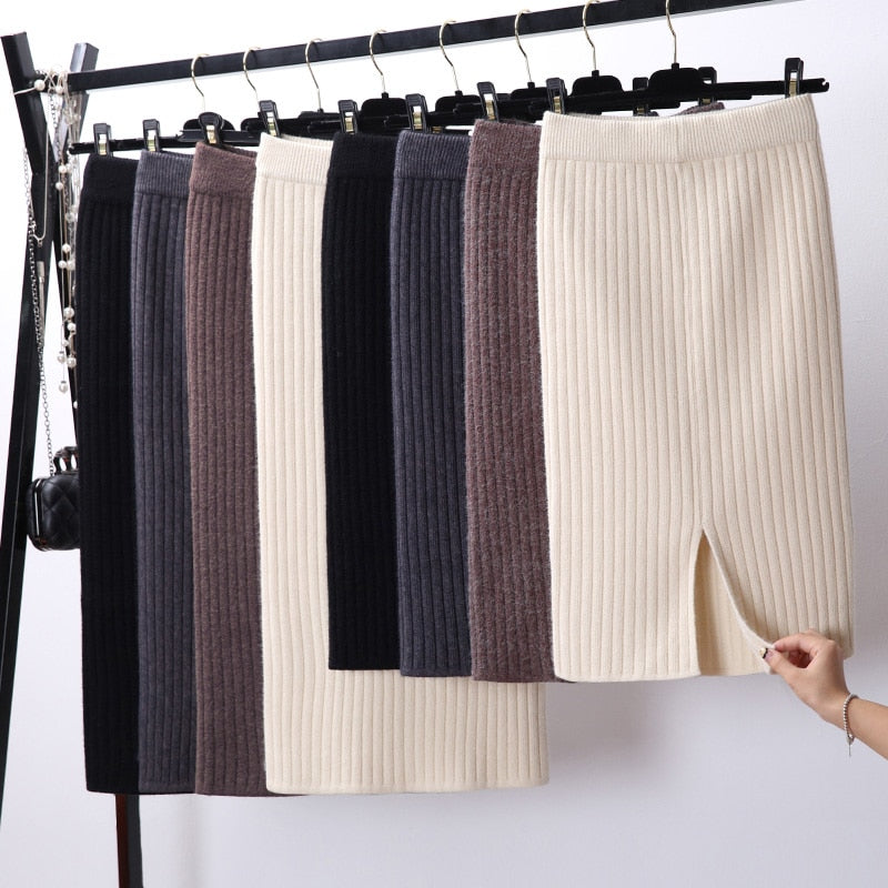 Women Back Slit Bodycon Elegant Midi Pencil Skirt Autumn Winter Casual Knitted Skirt High Waist Skirts Womens Jupe Femme Faldas-geekbuyig