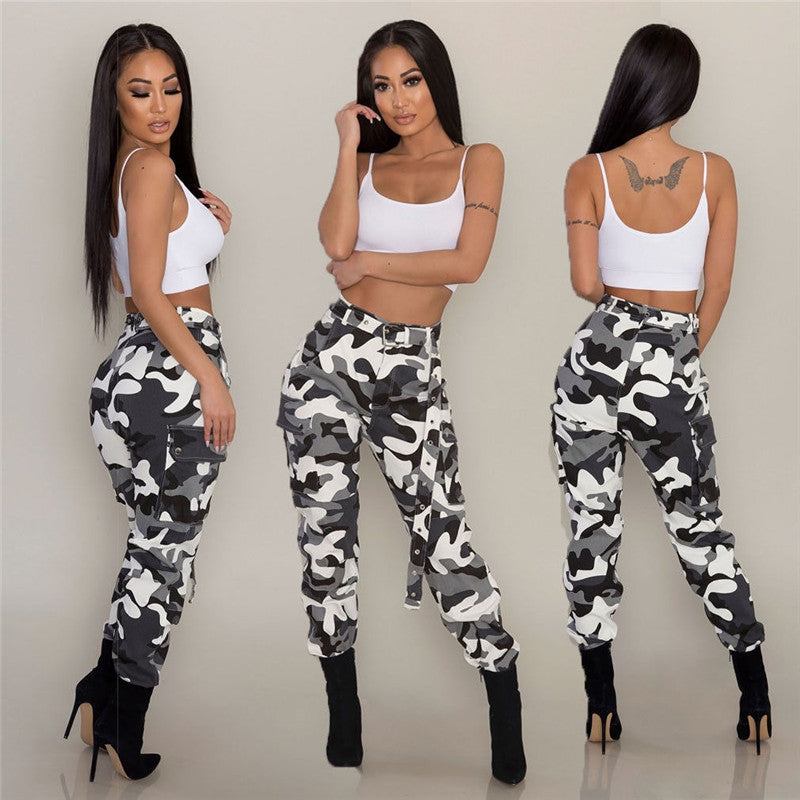 2018 Spring New Casual Pants Women Elastic Waist Camouflage Long Cargo Pants Hip Hop Skinny Fashion Trousers Plus High Waist-geekbuyig
