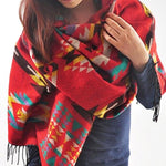 Women winter scarf cashmere Bohemian Hooded Coat Cape Poncho Shawl Scarf Tribal Fringe Hoodie capes-geekbuyig