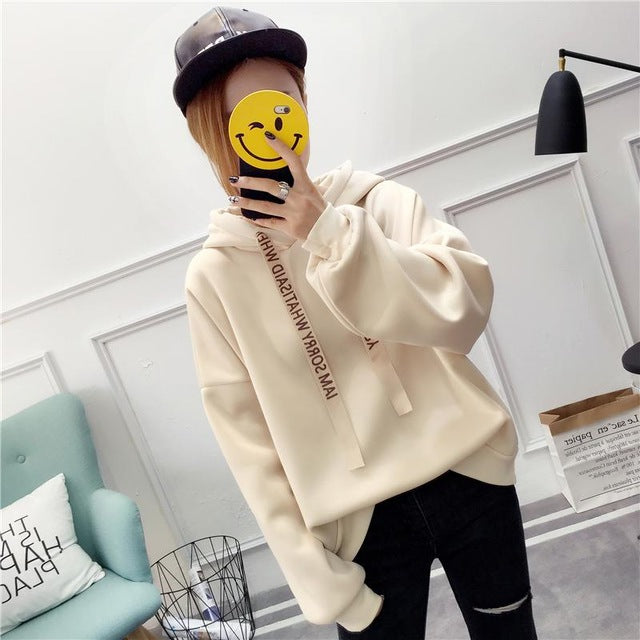 2018 Russian hot women's hoodies casual sweatshirt solid color long-sleeved loose large size women top winter explosion moleton-geekbuyig