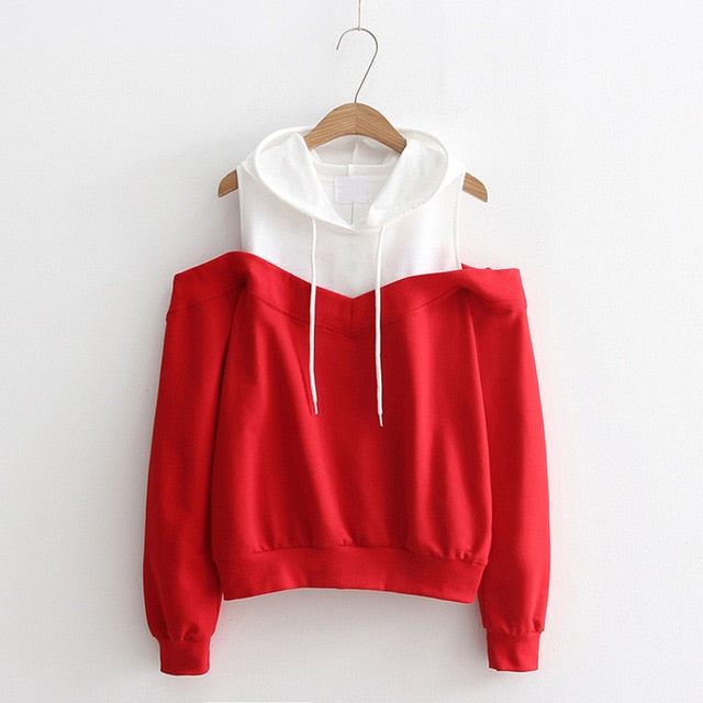 Moletom Women Long Sleeve Hoodies Sweatshirts Sexy Cold Shoulder Patchwork Sweatshirt Harajuku Hooded Pullover Sudadera Mujer-geekbuyig