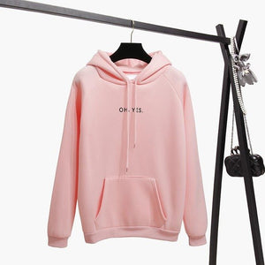 Autumn Winter Fleece Oh Yes Letter Harajuku Print Pullover Thick Loose Women Hoodies Sweatshirt Female Clothes Pink Casual Coat-geekbuyig