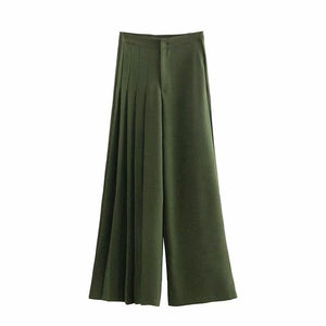 Hot sale She 45-1261, the European and American fashion asymmetric pleating deep blackish green trousers