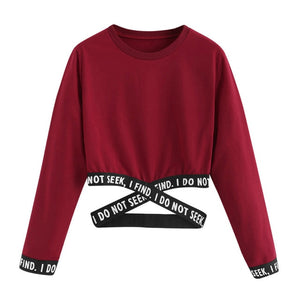 Crop sweatshirt women hoodies winter pullover Harajuku moletom Autumn Female Letters Hoodies clothes sudadera mujer-geekbuyig