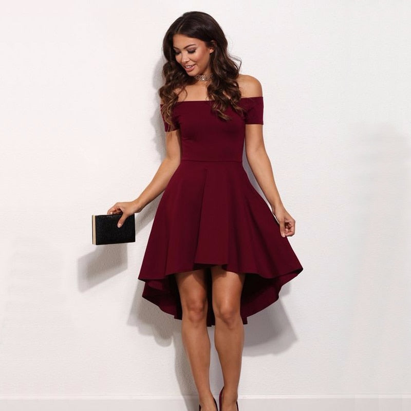 2018 Autumn Sexy Off Shoulder Slash A-Line dress Fashion New Women Blue wine Red Elastic casual beach Party knee-length dresses-geekbuyig