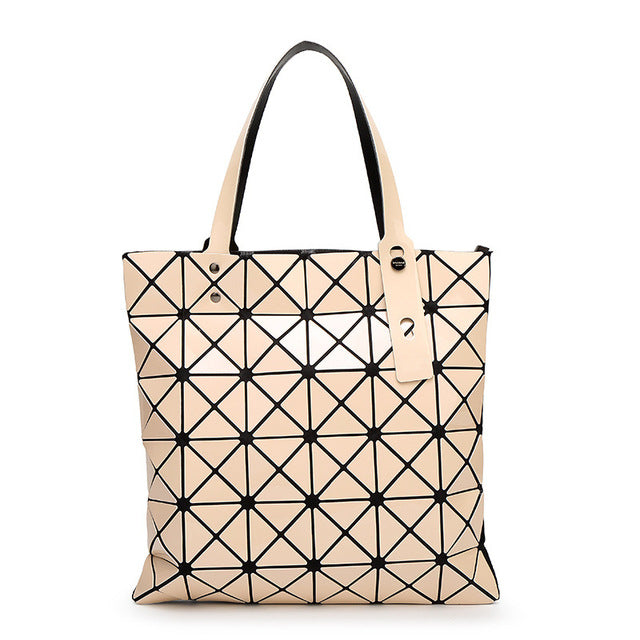 WSYUTUO Handbag Female Folded Ladies Geometric Plaid Bag Fashion Casual Tote Women Handbag Mochila Shoulder Bag-geekbuyig