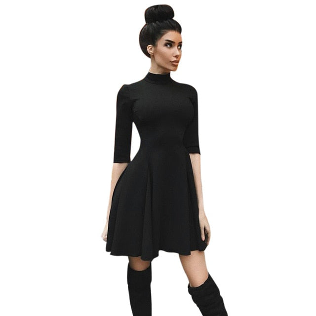 Hot Sell 2018 Sexy Black Mini Dresses Women Autumn Half Sleeve Stand Collar Slim A-Line Dress Party Dress Vestidos-geekbuyig