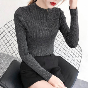 Pull Hiver Femme 2018 Autumn Winter Shiny Lurex Sweater Women Long Sleeve Basic Pullover Lady's Sweaters Korean Fashion Knit Top-geekbuyig