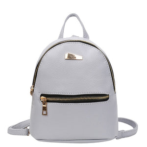 Women Leather Backpack School Rucksack College Shoulder Solid Fashion Ladies Satchel Travel Bag mochila feminina-geekbuyig