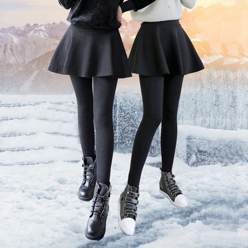 2018 Winter Leggings Slim Fit Stretch Fashion Women's False Two-piece Set Fold Pleated Package Hip Fake Skirt Legging Plus Size-geekbuyig