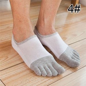 LNRRABC Men's Cotton Five Finger Socks Toe Socks Invisible Nonslip Ankle Breathable anti-skid Toe Socks Calcetines Drop Shipping-geekbuyig