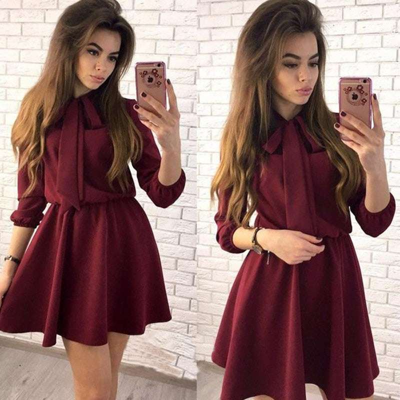 Women Dress Fall 2018 Fashion Solid Vintage Elegant Mini Dress Autumn Bow Causal Christmas Party Dresses Plus Size-geekbuyig