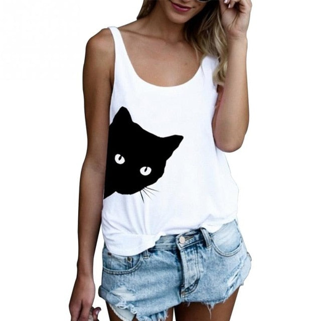 Women Sleeveless White T-shirts Casual Loose Tank Tops Ladies Cute Cat Print O-Neck Loose Camisole Autumn Bottoming Black Vest-geekbuyig