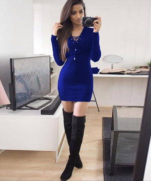 2018 Autumn Winter Women Dress Casual Black Gray Long Sleeeve V-Neck Dress Fashion Sexy Pencil Dresses Vestidos Female Clothing-geekbuyig