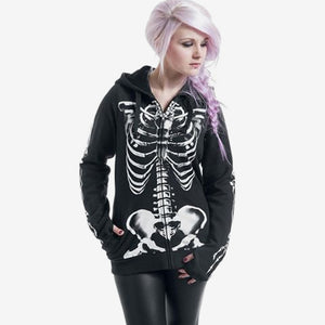 Women Fashion Skull Print Gothic Punk Hoodies 2018 Plus Size Long Sleeve Black Sweatshirt Female Streetwear Zipper Jacket Hoody-geekbuyig