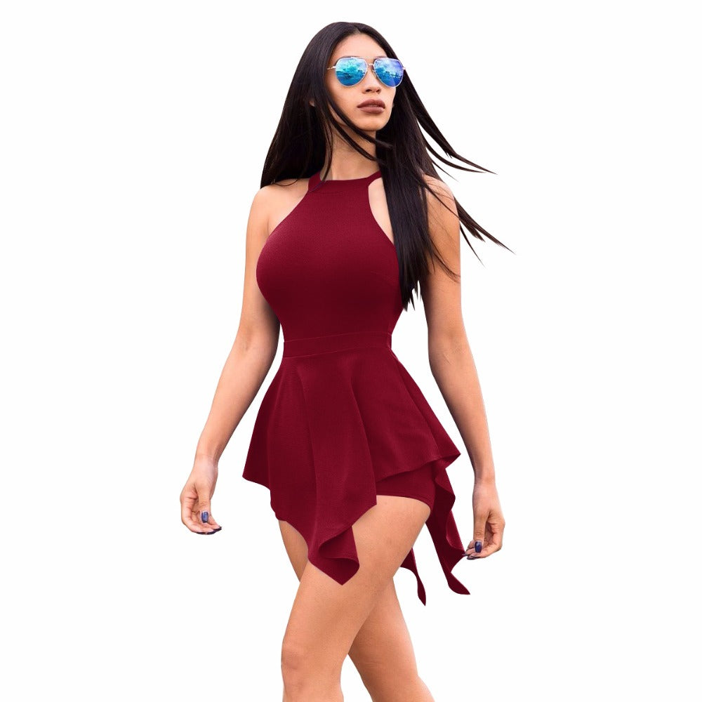 2018 summer hot popular asymmetrical ladies playsuits skinny sexy solid sleeveless hollow out mini ladies playsuits-geekbuyig