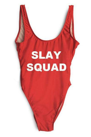 SLAY SQUAD Bathing suit Swimwear Women Sexy One Piece Suits Jumpsuit Rompers Bodysuit custom swimsuits-geekbuyig