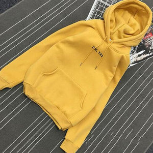 Spring Autumn Fashion Yellow Hoodies Women Casual Female Sweatshirts Long Sleeve Loose Terry Pocket Pullover Letter Clothes-geekbuyig
