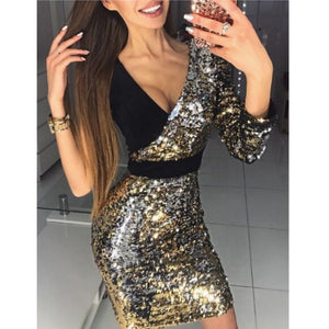 2018 New Fashion Women Long Sleeve One Shoulder Bodycon Sexy Sequins Party Evening Mini Club Dress Deep V-neck Short Dresses-geekbuyig