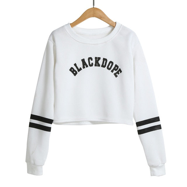 2018 Women Autumn Winter Loose Short Hoodies Crop Tops Letter Print Casual Outwear Pullover Sweatshirts busos para mujer-geekbuyig