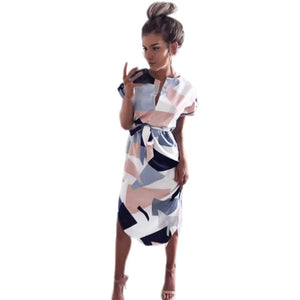 Women Long Dress Floral Short Sleeve Party Evening Long Dress Sundress women dresses evening party H8-geekbuyig