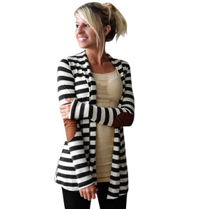 Winter Women Cotton Blend Stripe V-neck Casual Long Sleeve Striped girl Patchwork Outwear Women Coat-geekbuyig