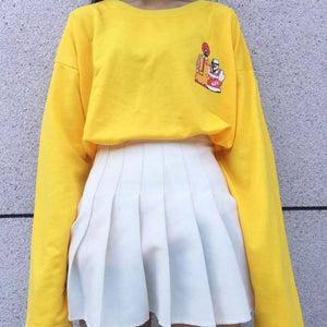 Yellow Casual Pullovers Long Sleeve Clown Printed Cotton Hoodies Female Harajuku Top Clothing 2017 New Design-geekbuyig