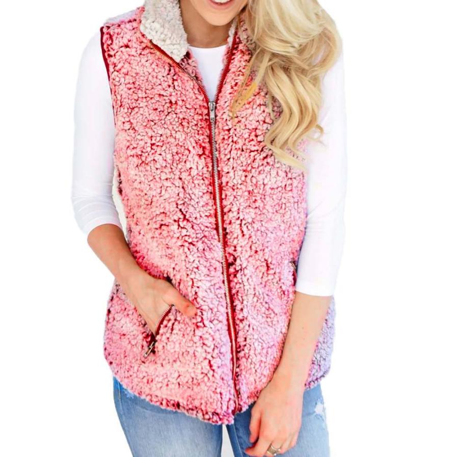 Womail Womens Vest Winter Warm Outwear Casual Faux Fur Zip Up Sherpa Jacket Outwear women vest 2018 L30726-geekbuyig