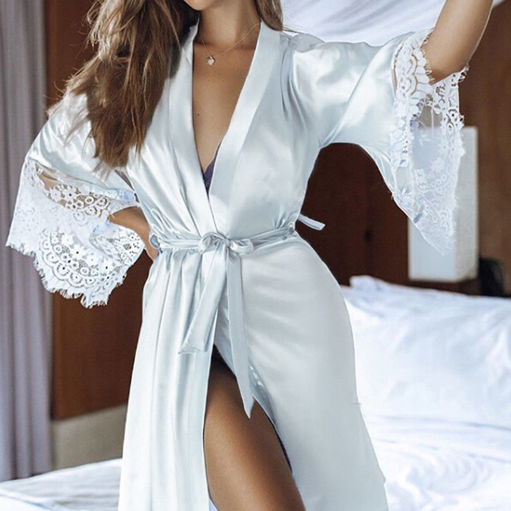 New Sexy Women Lace Long Sleeves Floral Kimono Robe Satin Silk Night Sleepwear Night Wear-geekbuyig