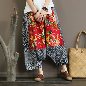 Johnature Appliques Harem Pants Women Autumn Trouser 2018 New Elastic Waist Vintage Cotton Linen Patchwork Loose Women Pants-geekbuyig