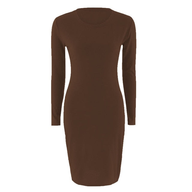 Autumn Spring Women Long Sleeve Dress Bodycon Sexy Slim Fit O-neck Casual Dresses AIC88-geekbuyig
