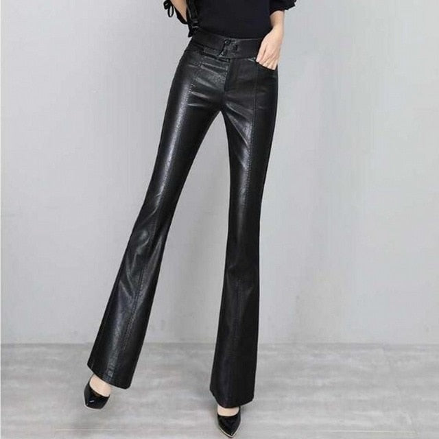 S-2XL Fashion Women Elastic Khaki Pants Ladies Casual Pant Stripe Split Bell Bottom High Waist Boot Cut Trousers Flare Trousers-geekbuyig