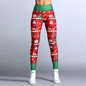 Dropshipping 2018 Christmas Printed Leggings Put Hip Elastic High Waist Legging Breathable Merry Christmas Pants-geekbuyig